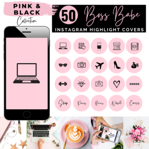 Boss Babe Instagram Story Covers - Pink & Black