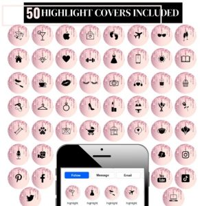 Pink Glitter Highlight Covers for Instagram