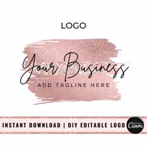 Rose Gold Glitter Brush Stroke Logo