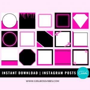 Neon Pink Instagram Post Templates